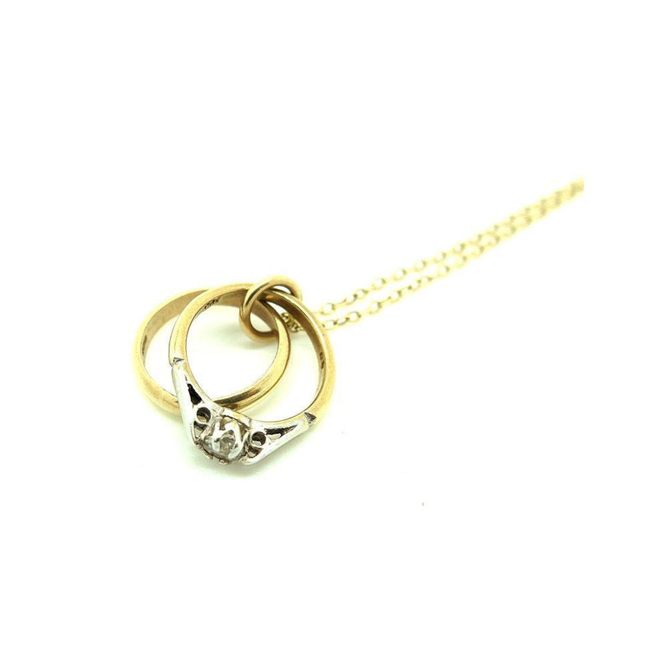 Vintage 1966 Wedding Rings 9ct Gold Charm Necklace