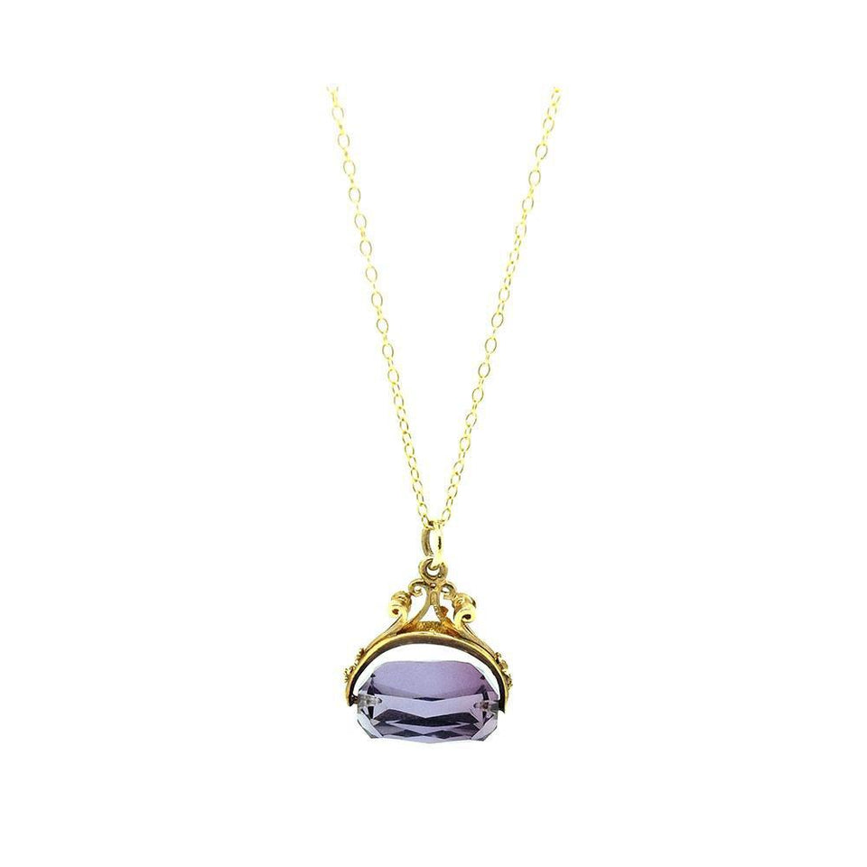 Vintage 1967 Amethyst Glass 9ct Gold Fob Charm Necklace
