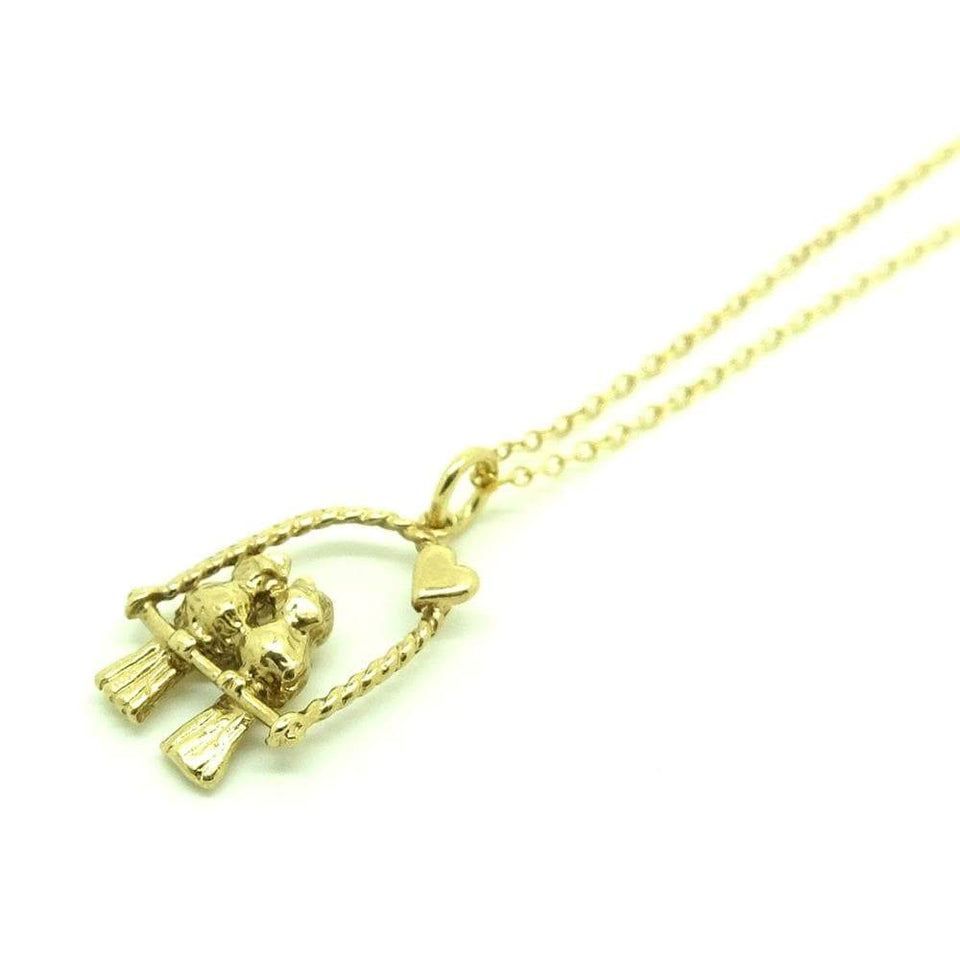 1960s Necklace Vintage Kissing Love Birds 9ct Gold Charm Necklace