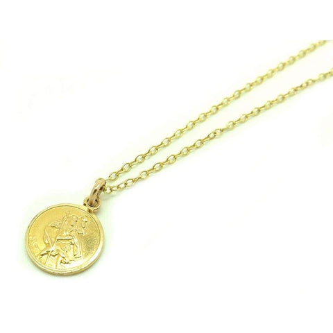 1960s Necklace Vintage St Christopher 9ct Gold Charm Necklace