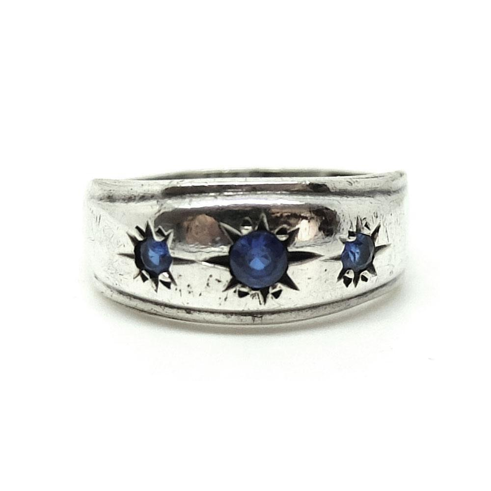 Vintage 1960s Blue Glass Silver Gypsy Ring