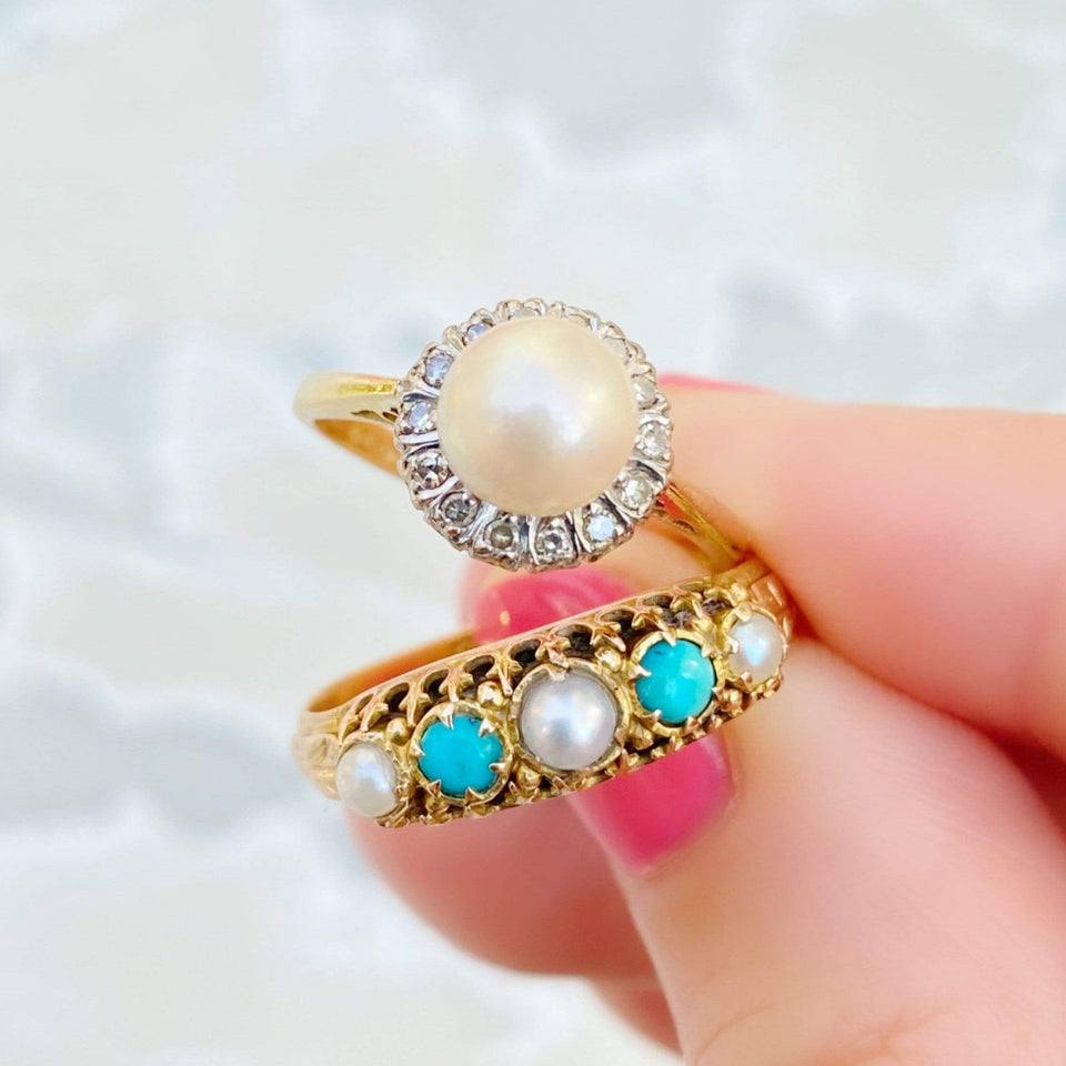 Vintage 1960s Diamond Pearl 18ct Gold Ring