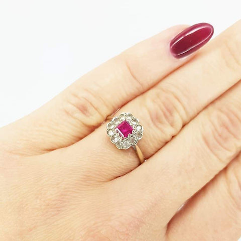 1960s Ring Vintage 1960s Pink Paste 9ct Gold Dress Ring
