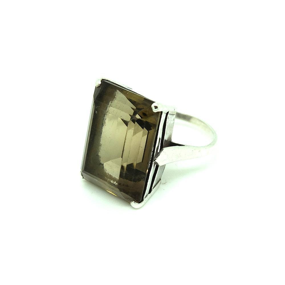 Vintage 1960s Smokey Quartz Silver Ring