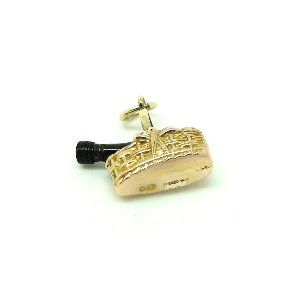 Vintage 1972 9ct Gold Champagne Bottle Charm Necklace
