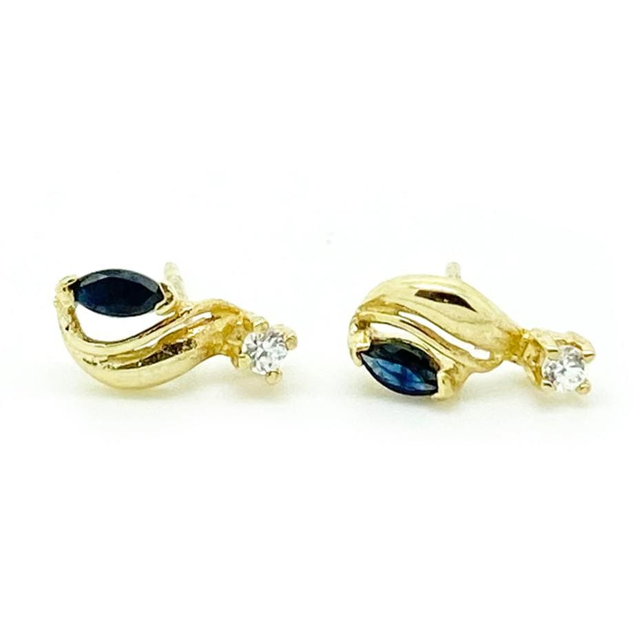 1970s Earrings Vintage 1970s Blue Sapphire 9ct Gold Stud Earrings