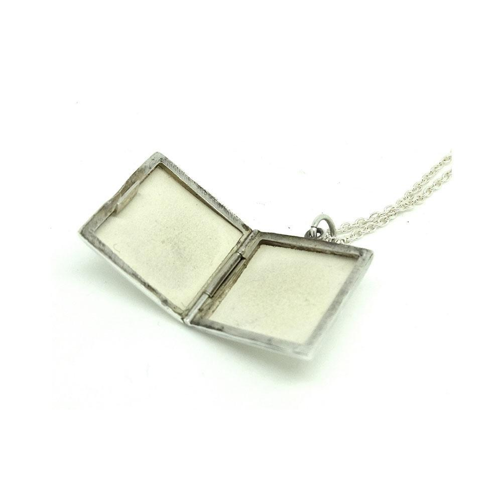 SOLD - Vintage 1970s Square Silver Locket Necklace