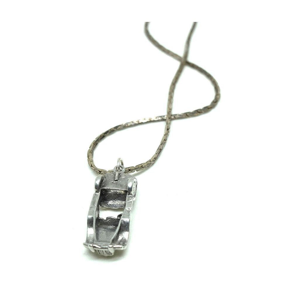Vintage 1960s Silver Roadster Racing Car Silver Charm Pendant Necklace
