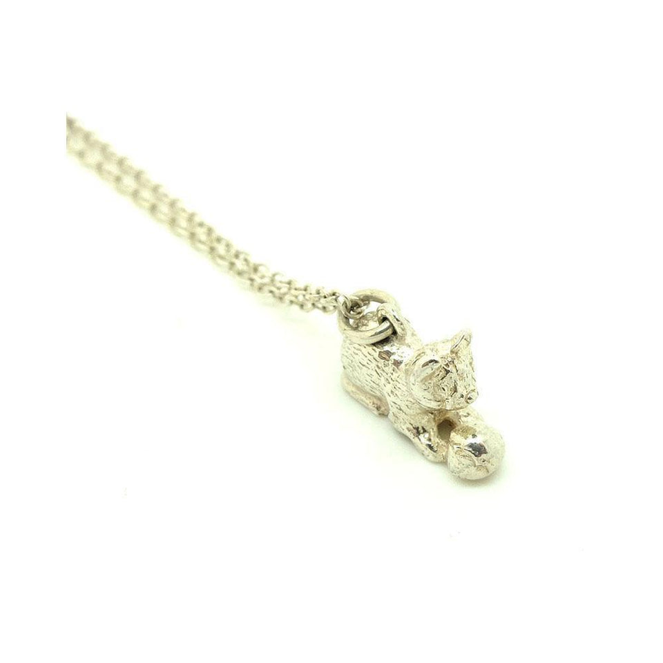 Vintage 1970's Sterling Silver Cat Charm Necklace
