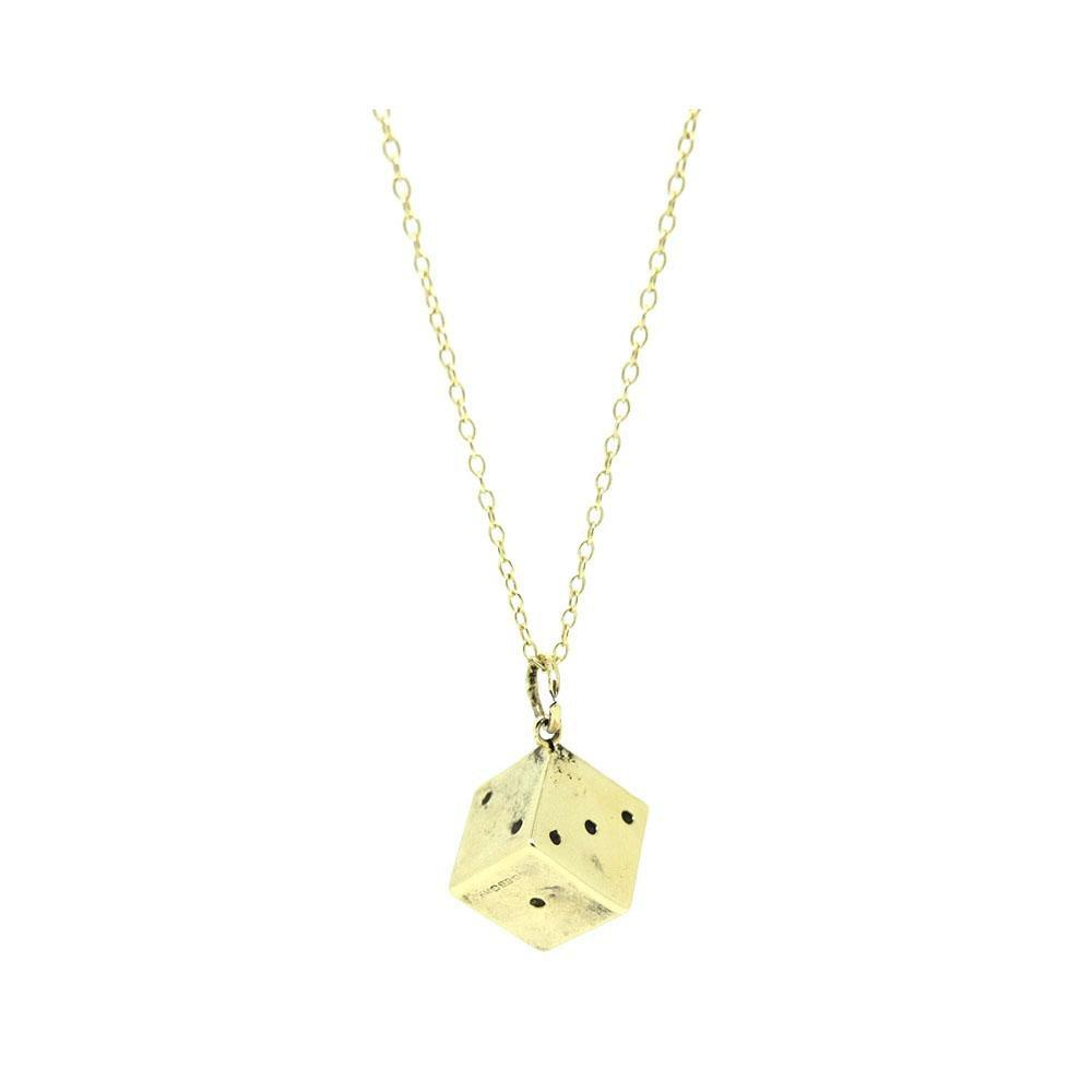Vintage 1970s 9ct Yellow Gold Dice Charm Necklace
