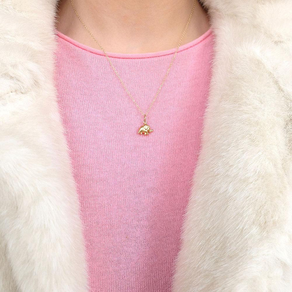 Vintage 1970s 9ct Yellow Gold Elephant Charm Necklace
