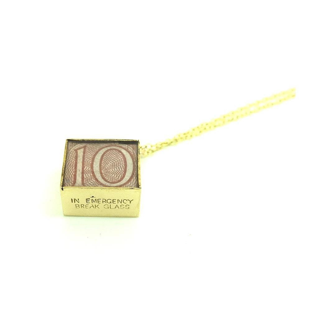 Vintage 1970s Emergency Money Ten Shilling Note Charm Necklace