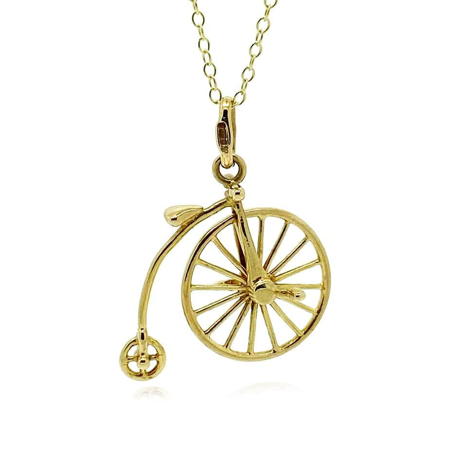 1970s Necklace Vintage 1970s Italian Unoarrre 9ct Gold Penny Farthing Bike Charm Necklace