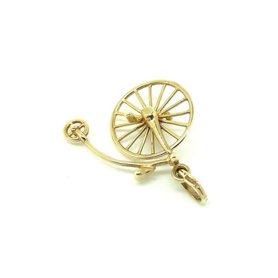 Vintage 1970s Italian Unoarrre 9ct Gold Penny Farthing Bike Charm Necklace