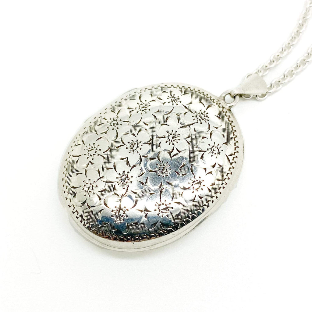 1970s Necklace Vintage 1970s Large Oval Silver Locket Necklace