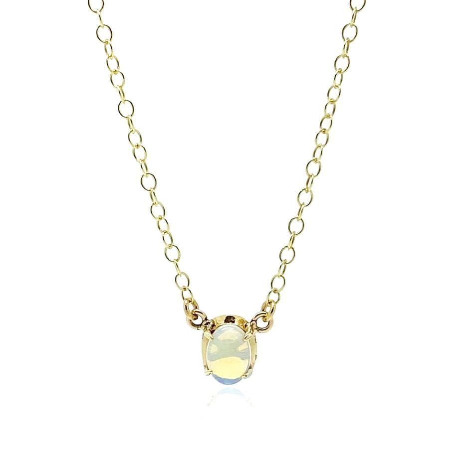 1970s Necklace Vintage 1970s Opal 9ct Yellow Gold Tiny Necklace