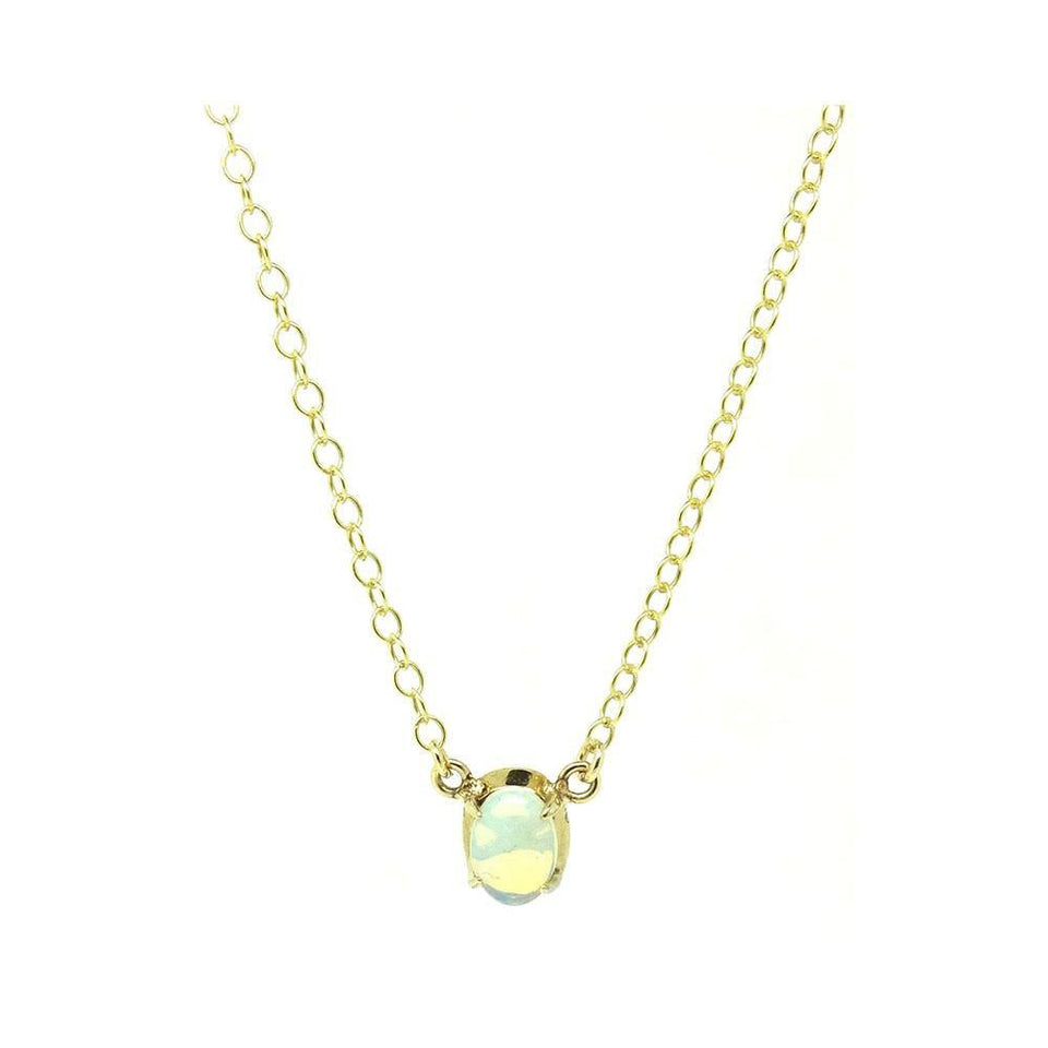 Vintage 1970s Opal 9ct Yellow Gold Tiny Necklace