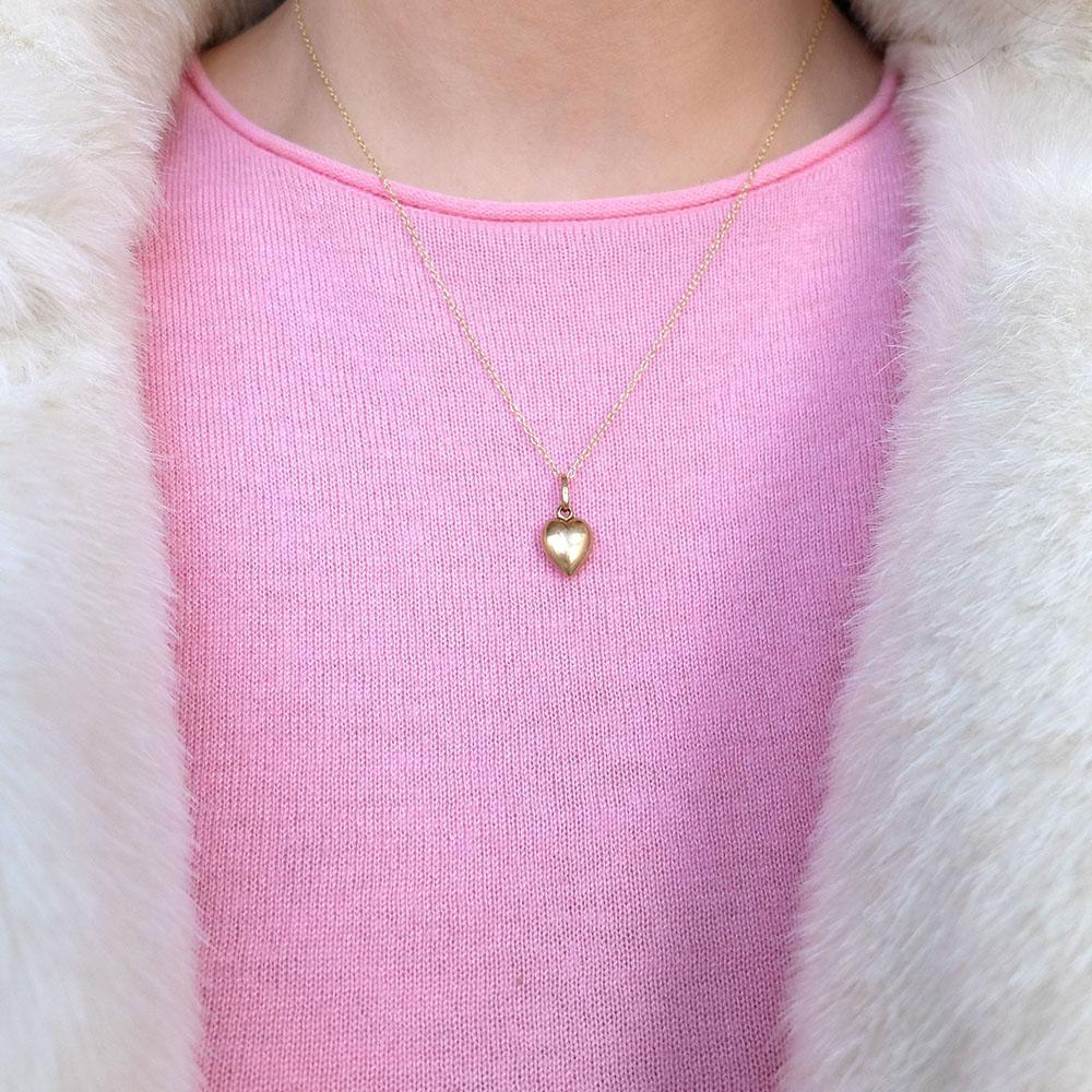 Vintage 1970s Puffed 9ct Gold Heart Charm Necklace