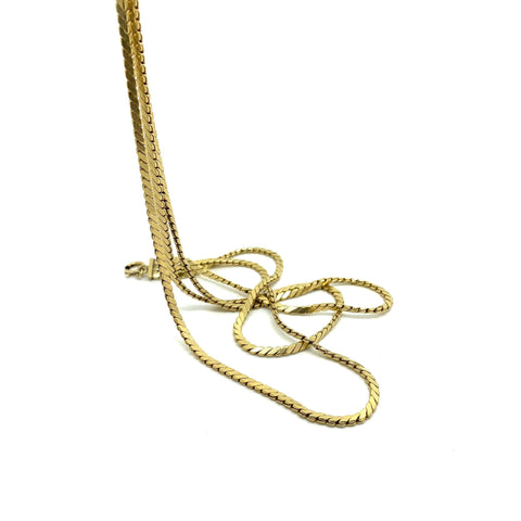 1970s Necklace Vintage 1970s Rolled Gold Triple Cobra Chain Necklace