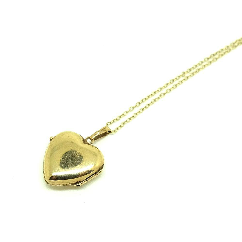 1970s Necklace Vintage 1970s Tiny Heart Gold Locket Necklace