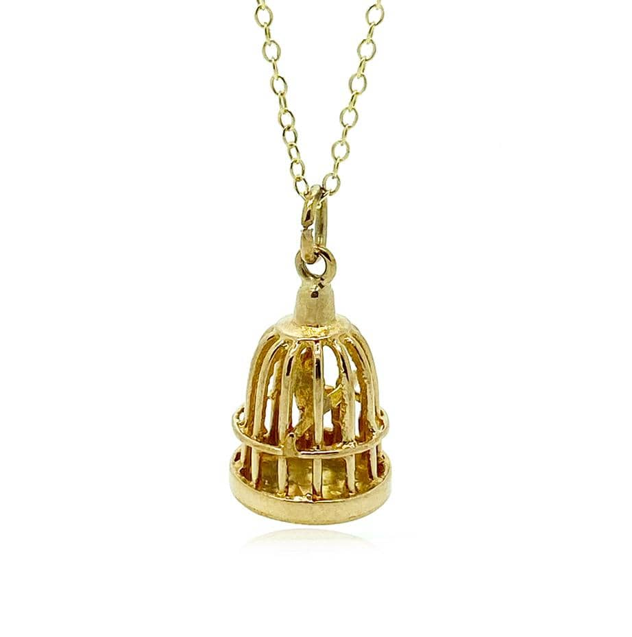 1970s Necklace Vintage 1972 9ct Yellow Gold Birdcage Charm Necklace