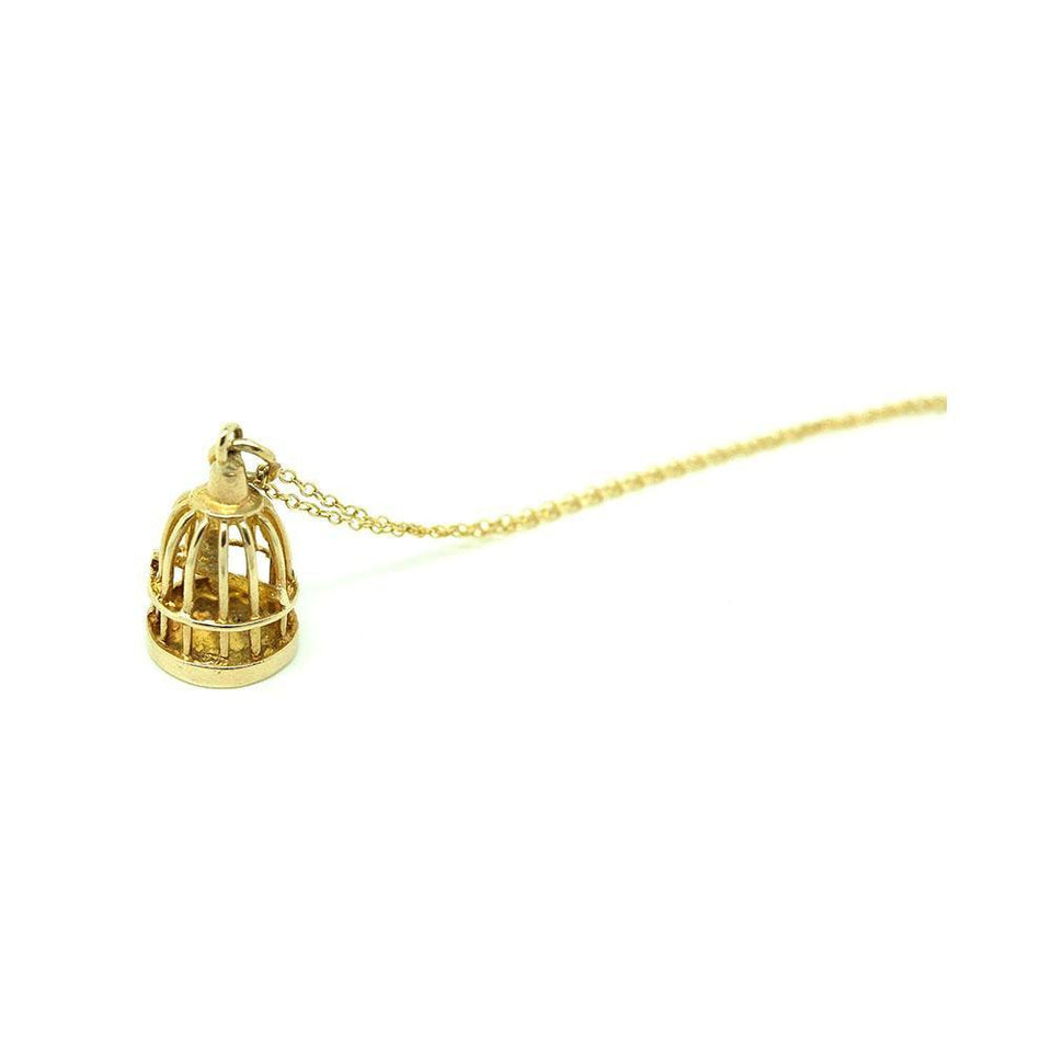 Vintage 1972 9ct Yellow Gold Birdcage Charm Necklace