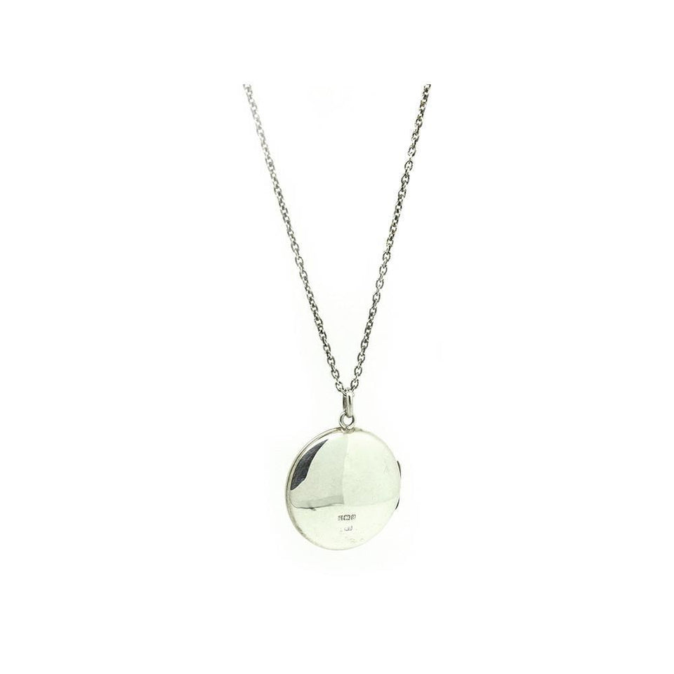 Vintage 1975 Sterling Silver Round Locket Necklace