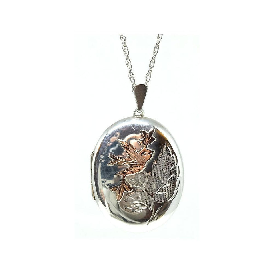 Vintage 1976 Sterling Silver & Rose Gold Locket