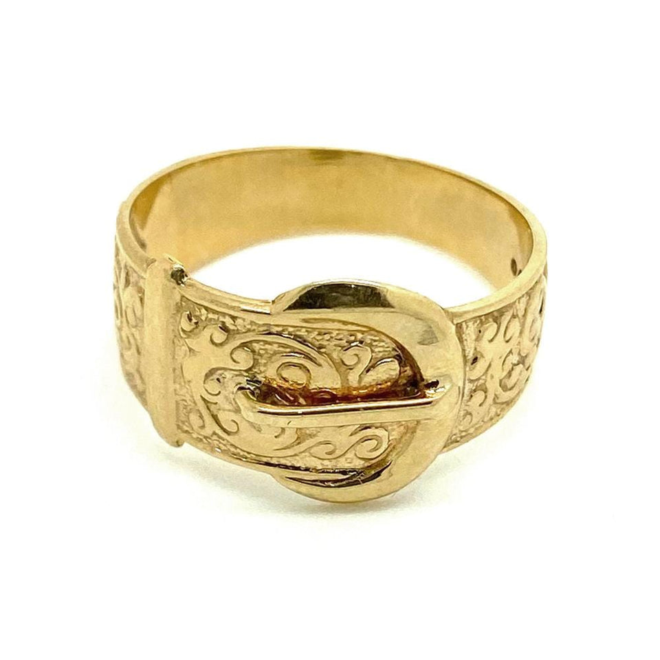 1970s Ring Vintage 1970s 9ct Gold Buckle Ring