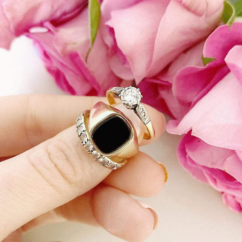 1970s Ring Vintage 1970s 9ct Gold Onyx Signet Ring