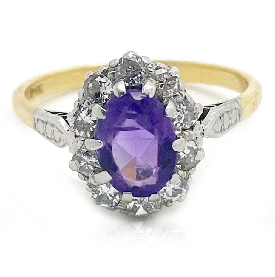 1970s Ring Vintage 1970s Amethyst Diamond 18ct Gold Ring