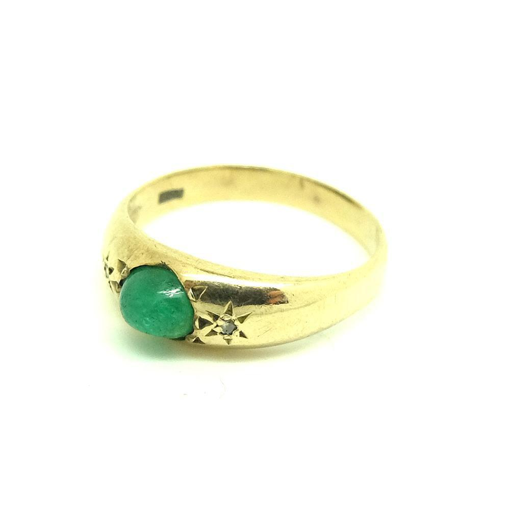 Vintage 1977 Emerald & Diamond 9ct Yellow Gold Ring