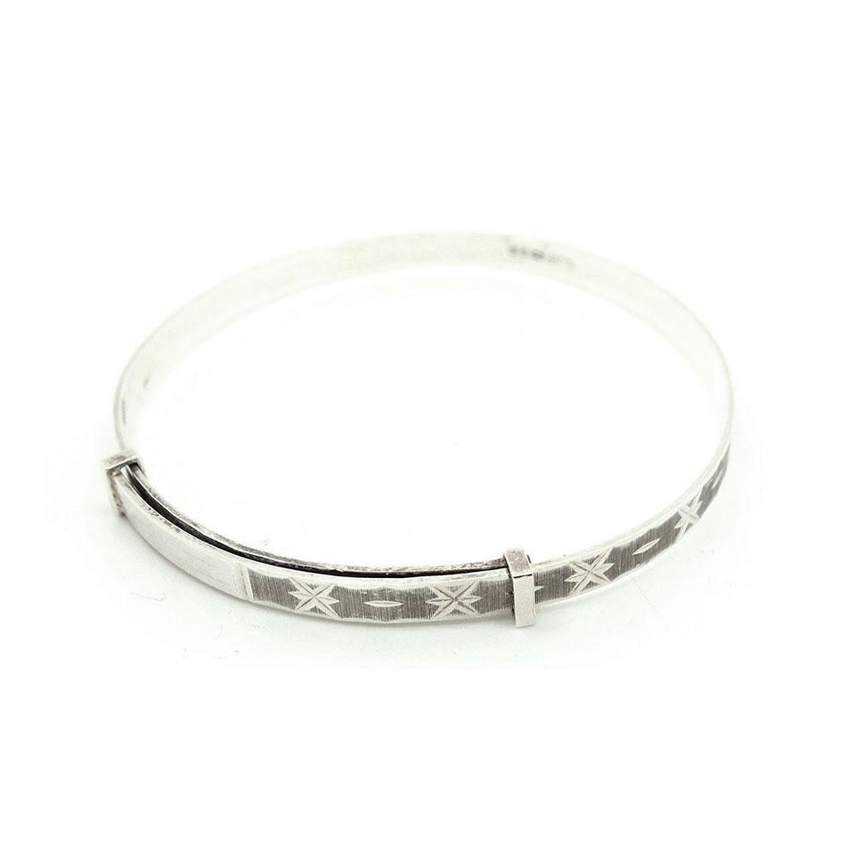 Reserved - Vintage 1980s Star Engraved Silver Bangle Bracelet