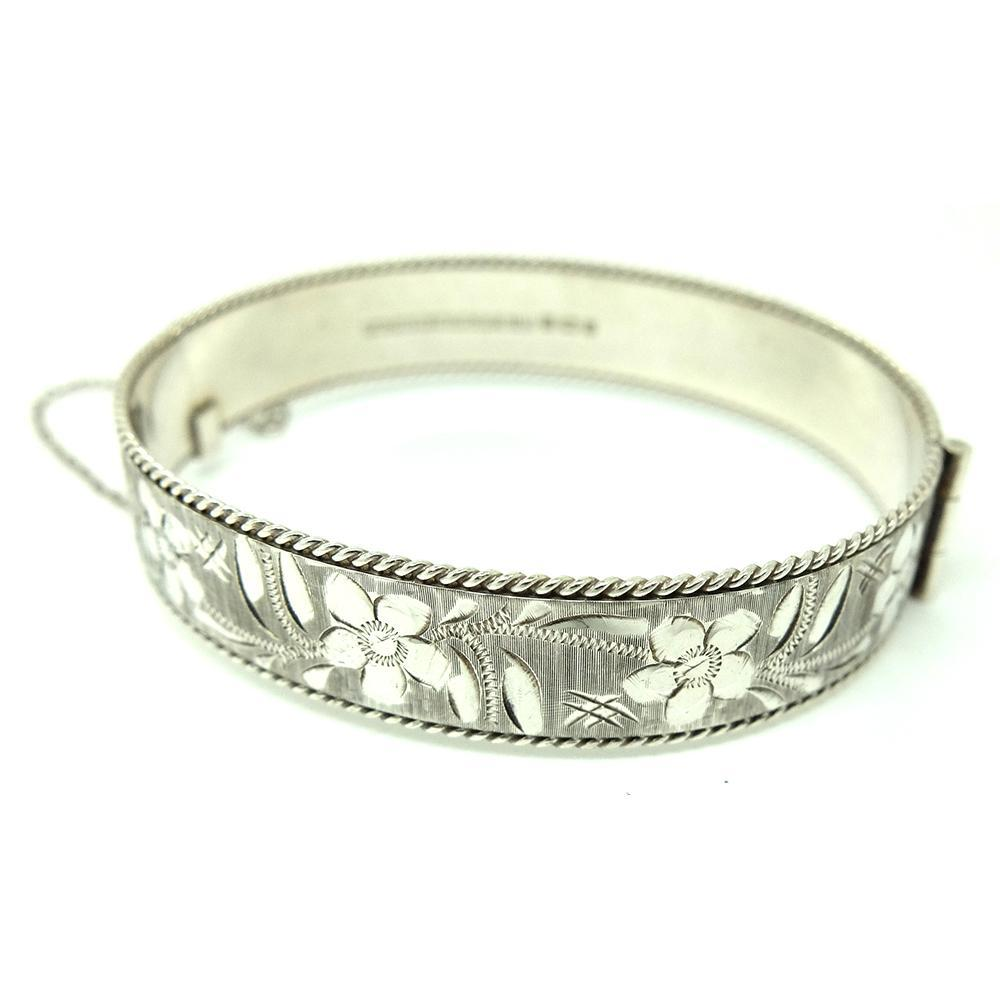 1980s Bracelet Vintage 1984 Sterling Silver Flower Bangle Bracelet