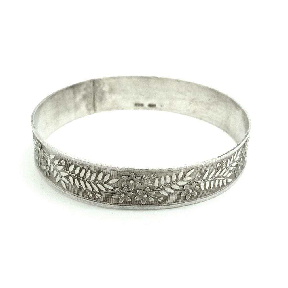 1980s Bracelet Vintage 1987 Leaf Sterling Silver Bangle Bracelet