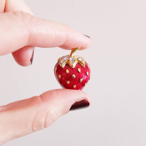 1980s Brooch Vintage 1980s Enamel Diamante Strawberry Brooch