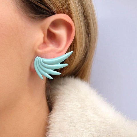 Vintage 1980's Blue Wing Earrings