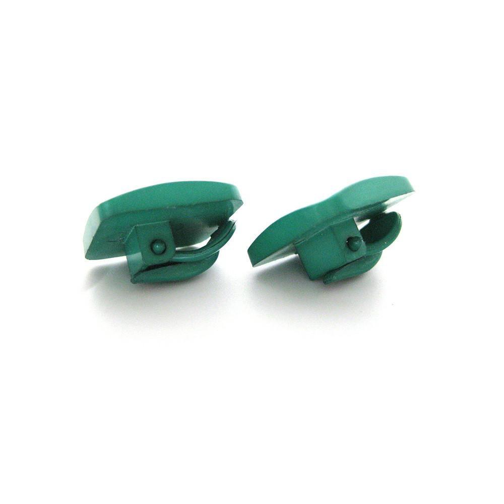 Vintage 1980's Green Square Clip Earrings