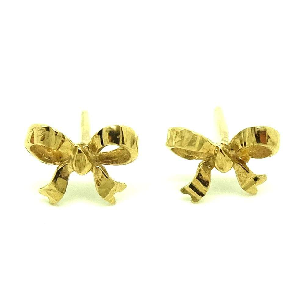 1980s Earrings Vintage 1980s 9ct Yellow Gold Bow Earrings