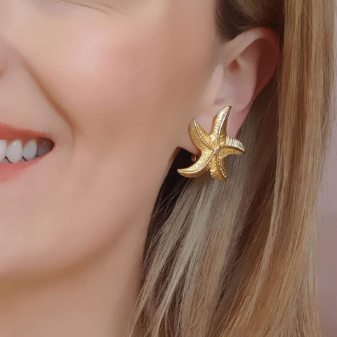 1980s Earrings Vintage 1980s Starfish Clip on Earrings