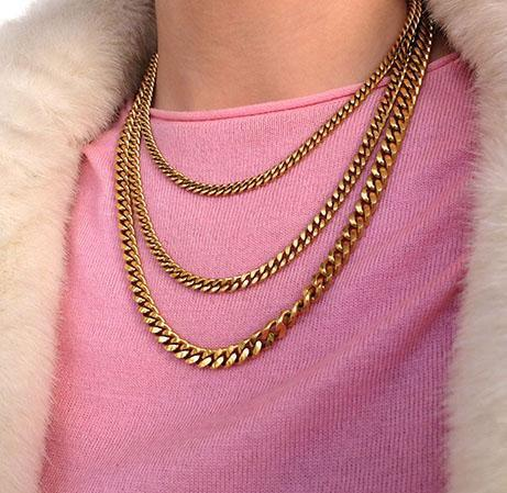 Vintage 1980's Designer Multi-Chain Gold Plated 'Monet' Necklace