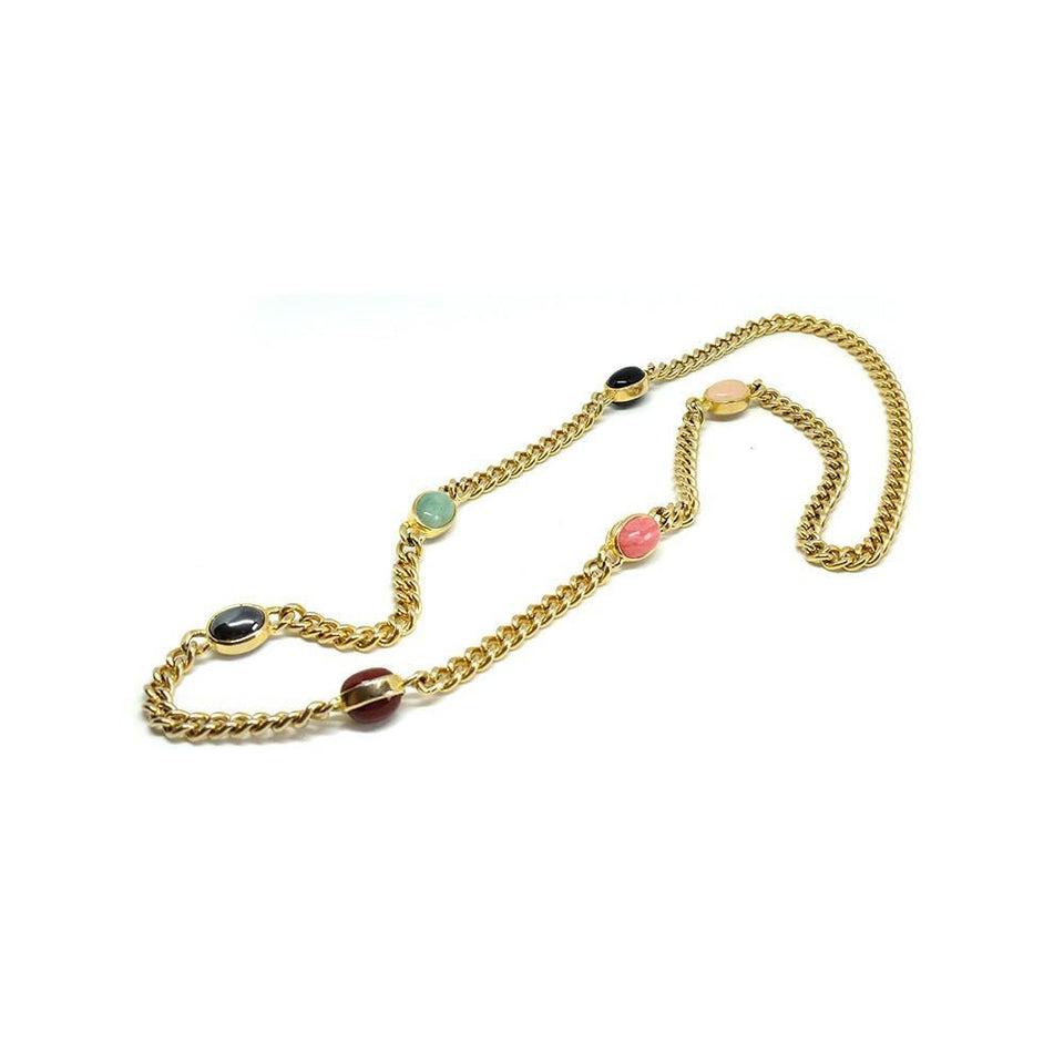 Vintage 1980's Glass Gemstone Curb Link Gold Chain Necklace