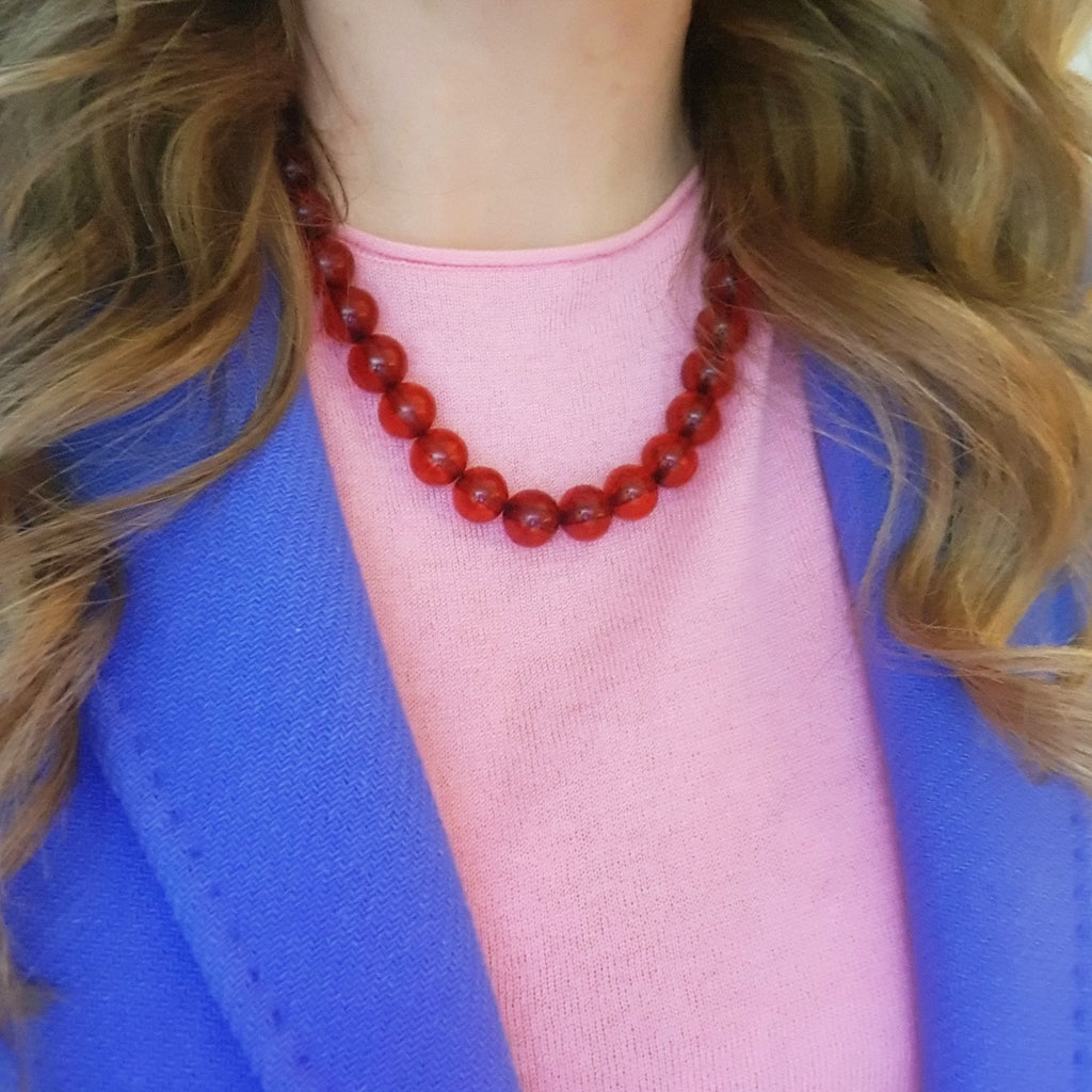 Vintage 1980s Plastic Large Red Beaded Necklace