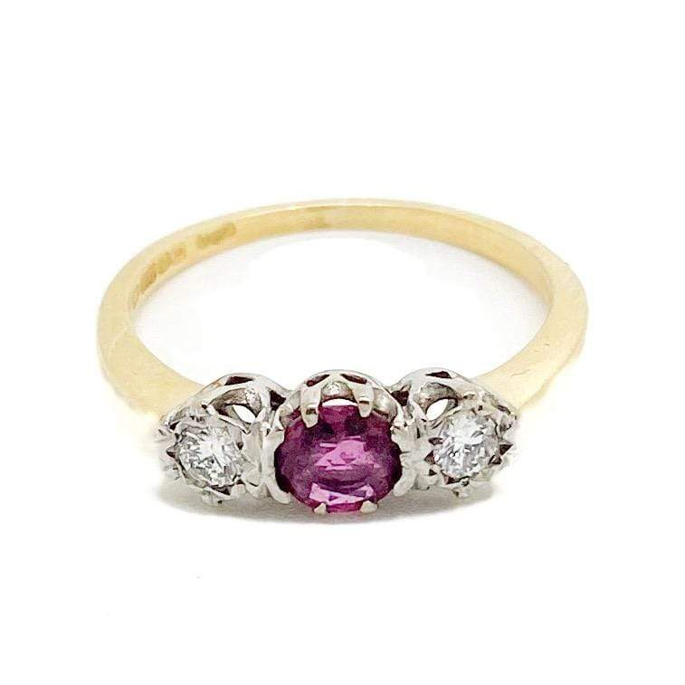 1980s Ring Vintage 1980s Diamond Ruby 18ct Gold Ring