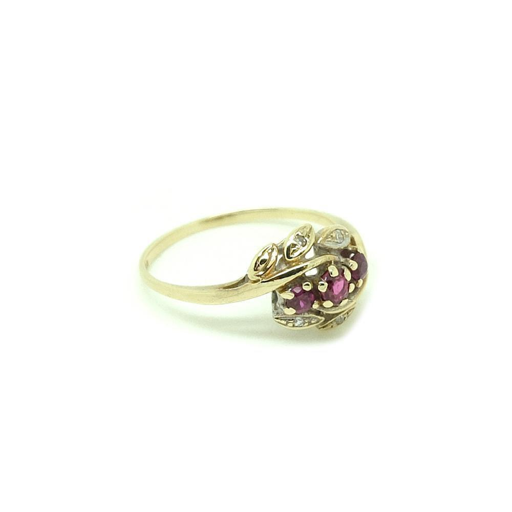 Vintage 1980s Diamond & Ruby 9ct Gold Ring