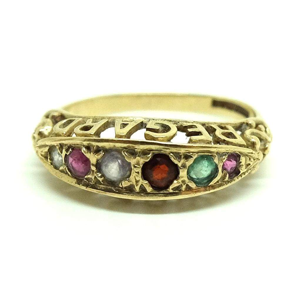 1980s Ring Vintage 1980s REGARD Gemstone 18ct Gold Ring