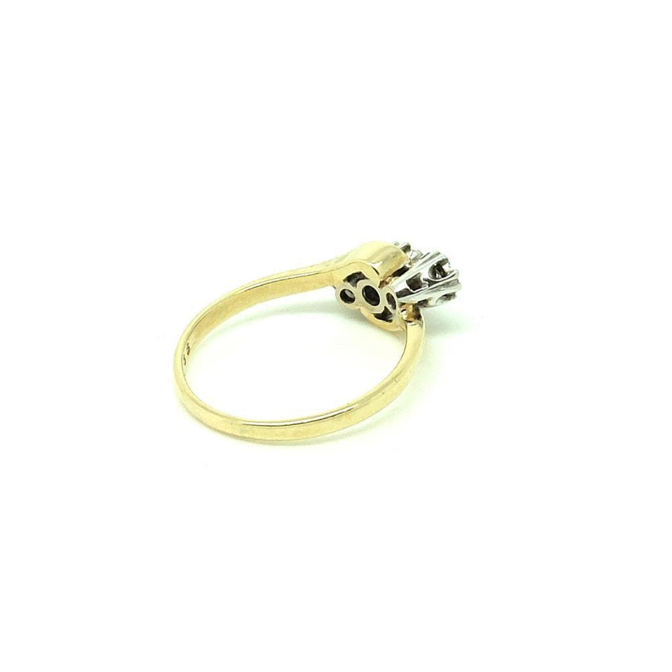 Vintage 1980s Triple Diamond 9ct Gold Gemstone Engagement Ring | N / 7