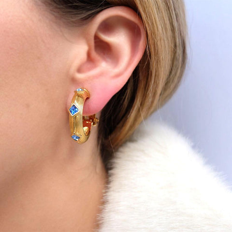 Vintage 1980's Designer Swarovski Blue & Gold Hoop Earrings