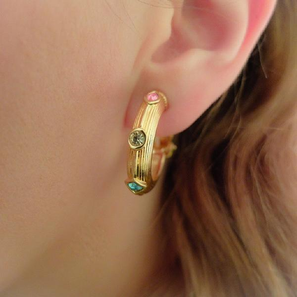 Vintage 1990's Designer Swarovski Pink & Gold Hoop Earrings