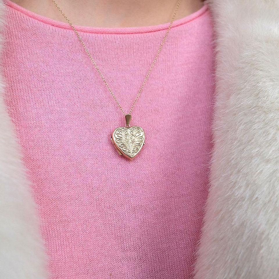 Vintage 1991 9ct Gold Heart Locket Necklace